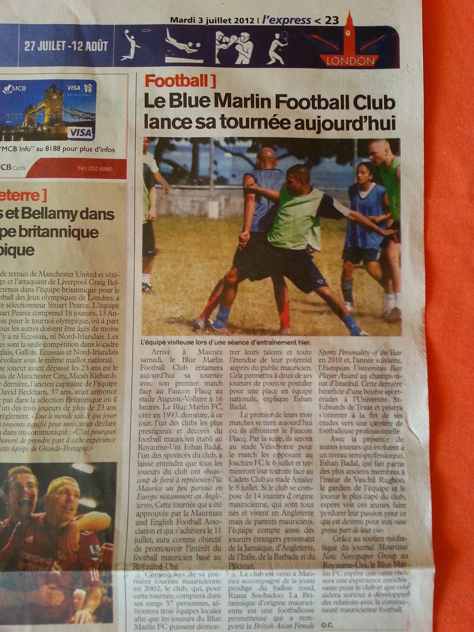 L'express 2012 Tour Newspaper Article
