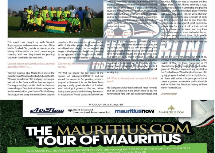Mauritius Now article: Pre 2012 Tour interview with Yaemish